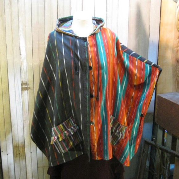 80s Patterned Button Down Shirt Womens Large Rainbow Aztec Ikat